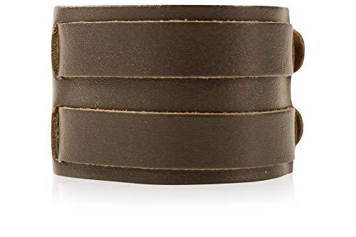 SCAMODA ® Kraftarmband aus 100% Leder, Metall-Schließe, Vintage Lederarmband für Damen und Herren, Made In Gemany (Braun, 2-reihig)