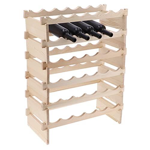 GOTOTOP Botellero apilable de Pino Natural,Estantería de Botellas de Vino Armario Soporte botellero para 36 Botellas de Vino Nuevo. para Vinos, Mostos, Bebidas y Licores,85x62x28cm