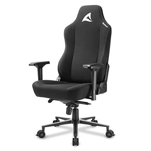 Sharkoon Skiller SGS40 Gaming Stuhl, Schwarz, mit atmungsaktiven Stoff-Überzug, breit