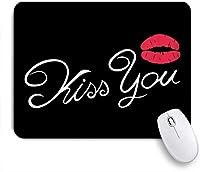KAPANOUマウスパッド 黒の背景に赤い唇とあなたにフォントIchnographyをキスします。 ゲーミング オフィス おしゃれ 良い 滑り止めゴム底 ゲーミングなど適用 マウス 用ノートブックコンピュータマウスマット