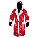 Cleto Reyes Bata de boxeo con capucha de satén, talla XL, color rojo y blanco