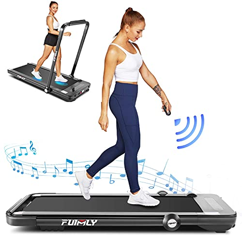 Treadmill,Under Desk Folding Treadmills for Home,2-in-1 Running, Walking&Jogging Portable Running Machine with Bluetooth Speaker & Remote Control,5 Modes & 12 Programs (Black)