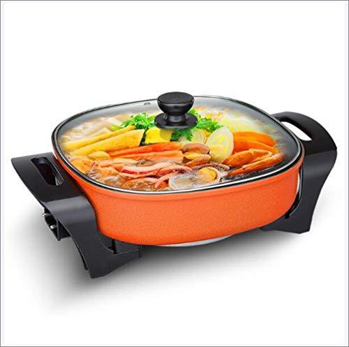 Draagbare elektrische hotpot, multifunctionele huishoudelijke non-stick pan met grote capaciteit en 3 temperatuurinstellingen,Orange