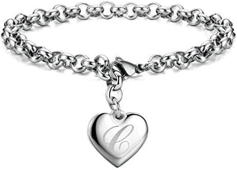 Initial Charm Bracelets Stainless Steel Heart 26 Letters Alphabet Bracelet for Women Valentine product image