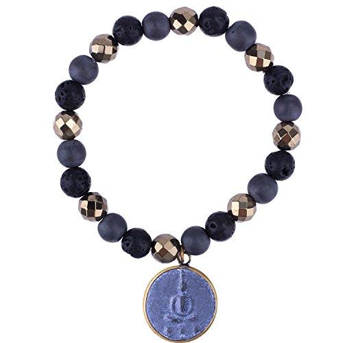 C.QUAN CHI Schwarz Lava Rock Perlen Elastic Yoga Stretch Armband Thai Buddha Amulette Schutz Manschette Bangle Unisex