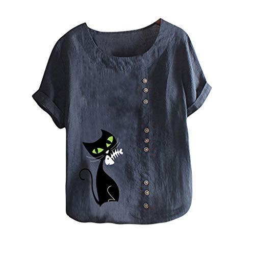 WooCo Leinen Oberteile Damen Sommer Großen Größen - Gesticktes Blumenhemd Baumwolle - China Shirt Charakteristisch Kurzarm Top Bluse - Damen Sale(Blau-H,XXXXL)