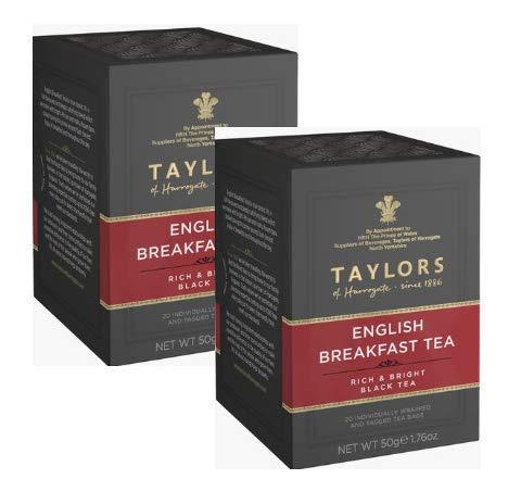 Taylors of Harrogate English Breakfast Té Nero Pieno e Luminoso - 2 x 20 Bustine di Tè (100 Grammi)