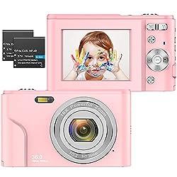 ZORNIK 1080P Fotocamere Digitali Compatte 2,4 Pollici LCD Ricaricabile HD 36 Mega Pixel, Zoom Digitale 16x, Studenti per Adulti/Anziani/Bambini (Rosa-1080P)