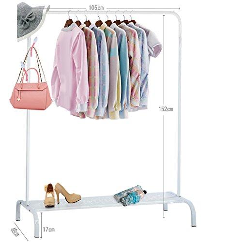 Perchero de piso con barra individual Barra de ropa Percha de hierro Percha y perchero ( Color : Blanco )