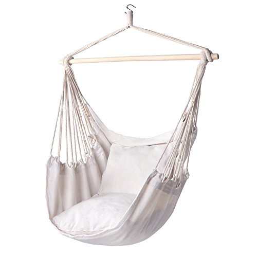 Y- STOP Hammock Chair Hanging Rope Swing-Max 320 Lbs-2 Seat Cushions Included-Quality Cotton Weave...