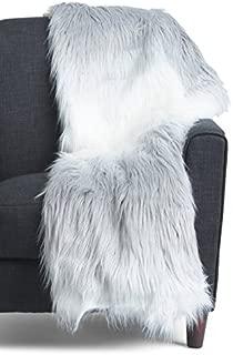 Tabitha Webb Platinum Ombra Mongolian Faux Fur Throw Blanket Reversible Heavy Throw