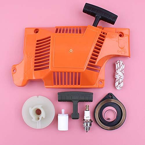 HAOHAO Compatible with Husqvarna 50 51 55 Arrancador de Retroceso polea de Cable de Mango de Agarre del Resorte Filtro de Combustible Spark Plug Kit Motosierra Piezas de Repuesto