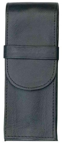 Alassio 2617 - Schreibgeräteetui aus echtem Leder, Etui in schwarz, Stiftetui ca. 14 x 6 x 2,5 cm, Lederetui für 3 Stifte