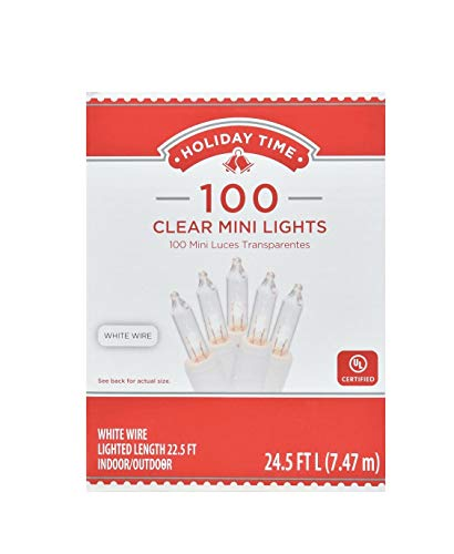 Walmart Inc Holiday Time Mini Christmas Lights, 24.5ft, Clear, 100 Count