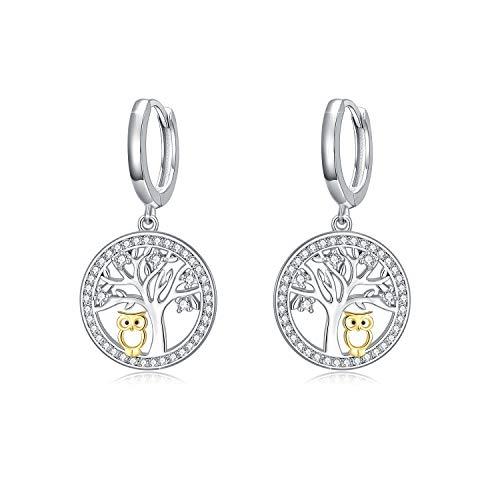 Tree of Life Eardrop 925 Sterling Silver Owl Dangle 14K Owl Earrings Hypoallergenic Jewelry for Girl Ladies Women with Gift Box