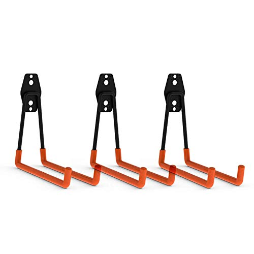 CoolYeah Steel Garage Storage Utility Double Hooks, Heavy Duty for Organizing Ladder Hooks, Long U Hooks (Pack of 3,