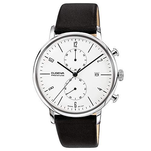 DUGENA Herren-Armbanduhr Dessau Chrono, Chronograph, weißes Zifferblatt, Edelstahlgehäuse, Hart-Acrylglas, 3 bar, Bauhaus-Design (Lederband schwarz)