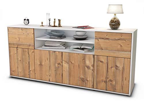 Stil.Zeit Sideboard Emilia/Korpus Weiss matt/Front Holz-Design Pinie (180x79x35cm) Push-to-Open Technik
