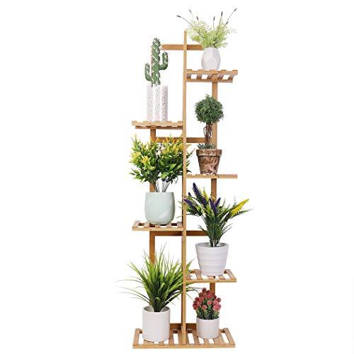 Medla Pflanzenregal Holz, Blumenständer mehrstöckig 7 Ablagen, Pflanzentreppe Blumenregal Standregal, für Balkon Restaurant Café Deko, 40x20x122cm