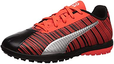 PUMA Unisex-Child One 5.4 Turf Trainer Sneaker, Black-Red Red Aged Silver, 3 M US Little Kid
