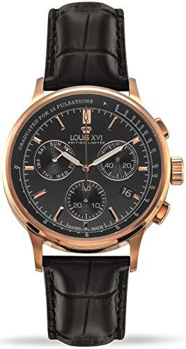 LOUIS XVI Herren-Armbanduhr Monseigneur Rosegold Schwarz Chronograph Analog Quarz echtes Leder Schwarz 912