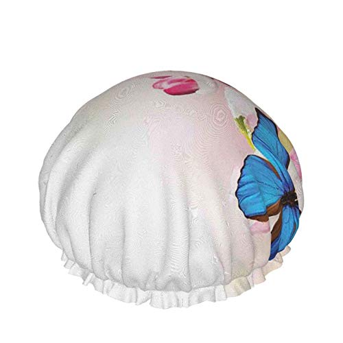 Style03 - Gorro de ducha de doble capa, flores de primavera con manzanillas horizontales dibujadas a mano, reutilizables, impermeables, elásticos, para todas las longitudes de cabello