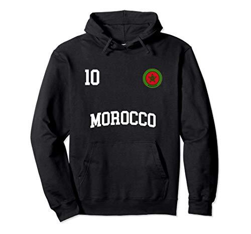Marokko Fußball Mannschaft Nummer 10 Marokkaner Flagge Pullover Hoodie