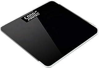 Báscula Baño Digital con Pantalla LCD Retroiluminada ,báscula plana, Báscula de baño de vidrio,diseño de esquina redonda,que incluye pilas (Color : Black)
