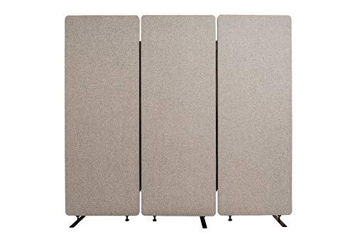 Luxor RCLM-RD3P-MG Akustik Raumteiler, Büro Trennwand, Sichtschutz, Schallschutz, Stellwand, schallabsorbierend, 3er Pack, Hellgrau, 168 x 183 x 3 cm (H x B x T)