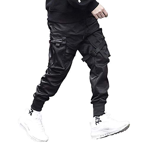 Aelfric Eden Mens Joggers Pants Long Multi-Pockets Outdoor Fashion Casual Jogging Cool Pant with Drawstring (Black, M)