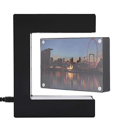 Marco de Fotos de levitación magnética Forma Cuadrada Suspendido en Aire Flotante con Luces LED Álbum de Fotos Decoración de Escritorio de Oficina en casa(EU)