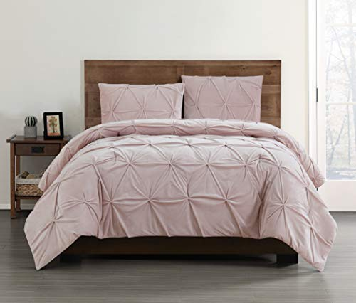Pem America Pin Tuck Truly Soft Pleated Velvet Twin 2 Piece Comforter Set in Blush