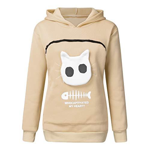 TOPKEAL Sudadera con capucha para mujer con bolsillo para mascotas, de manga larga, para otoño, con estampado de gato beige M