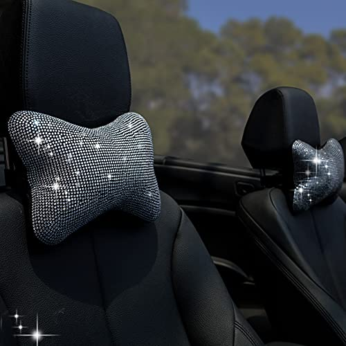 2Pcs Car Neck Pillow Headrest Neck Support Car Pillow for Driver, Auto Seat Headrest Cushion Travel Pillow for Driving Relax Neck Support Crystal Rhinestone Diamond Bling Accessories for Woman