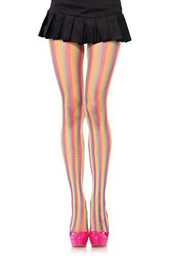LEG AVENUE Damen Rainbow Fishnet Strumpfhose, Mehrfarbig, One Size