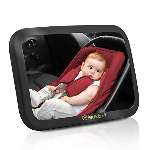 Baby Car Mirror - Safety Car Seat Mirror For Rear Facing Infant - Wide Shatterproof, Crystal Clear Car Baby Mirror - Carseat Mirrors - Fully Assembled Baby Car Mirror (Matte Black)