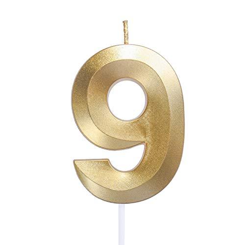 URAQT Velas de Cumpleaños Número 9, Velas De Cumpleaños Oro, Adecuado para Fiestas De Cumpleaños, Aniversarios De Bodas, Fiestas De Jubilación, Etc. 7cm