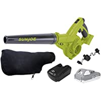 Sun Joe 24V-WSB-LTE 180-MPH 92-CFM Max Cordless Rechargeable Multi-Purpose Workshop Blower Kit with 2.0-Ah Battery + Charger