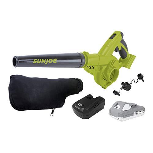 Sun Joe 24V-WSB-LTE 180-MPH 92-CFM Max Cordless Rechargeable Multi-Purpose Workshop Blower, Kit (w/ 2.0-Ah Battery + Charger)