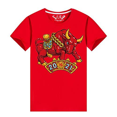 Janly Clearance Sale Familia a juego de trajes de manga corta, 2021 Año Nuevo Moda Hombres Casual Fondo Camisa Impreso O-Cuello Blusa Camisas Camisetas Tops para Navidad