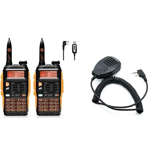 Baofeng gt-3tp Mark III walkie-Talkie, 8w (2 pcs with Programming Cable). + UV-5R Speaker Micrófono para Walkie Talkie UV-5R, Color Negro