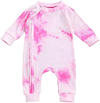 Long Sleeve Tie Dye Romper Button Jumpsuit (12-18 Months, Rose Red)