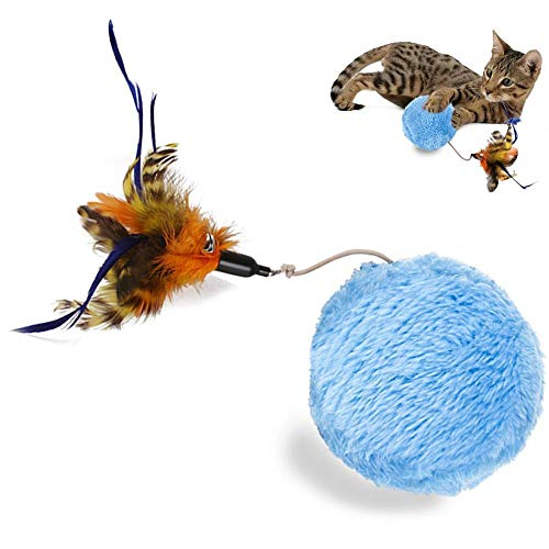 Jouet pour Animaux De Compagnie Jouet pour Chat Magic Roller Ball Feather Mouse Pet Toy Automatic Roller Ball Chew Plush Clean Cat Toys Electric Interactive Toy Ball M Fauxfeather