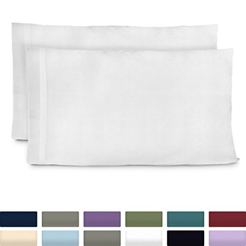 Cosy House Collection Premium Bamboo Pillowcases - Standard, White Pillow Case Set of 2 - Ultra Soft & Cool Hypoallergenic Blend from Natural Bamboo Fiber