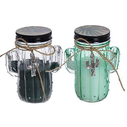 Vidal Regalos Vela Decorativa x2 Cactus Bote Cristal en Dos Colores 15 cm