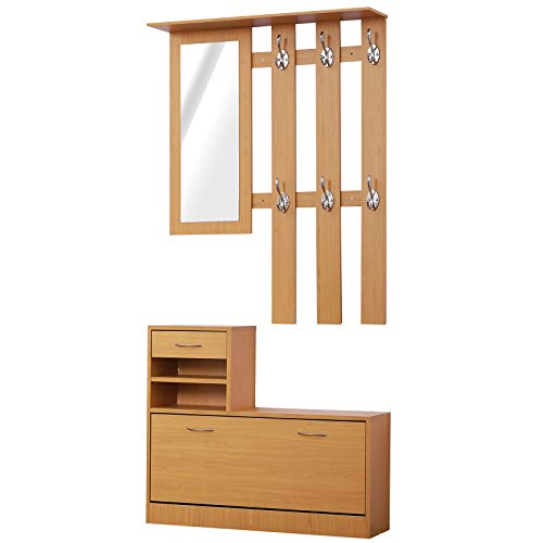 HOMCOM Conjunto de Muebles de Entrada Recibidor Pasillo Set de 3 Piezas Perchero Espejo Zapatero con Cajón 90x22x116cm Madera Marrón