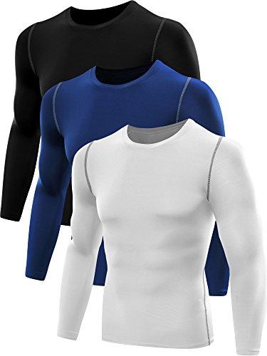 Neleus Men's 3 Pack Athletic Compression Sport Running T Shirt Long Sleeve Base Layer,Black,White,Blue,US S,EU M