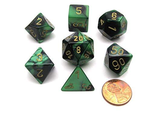 Polyhedral 7-Die Gemini Chessex Dice Set - Black-Green w/ Gold CHX-26439