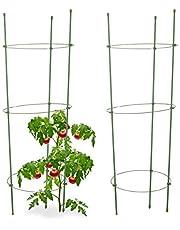 Relaxdays Anillas ajustables en altura para tomates, balcones, bancales de plástico, 76 cm de largo, color verde