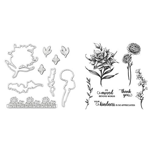 Scrapbooking Prägen Schneidstempel für DIY Scrapbooking Fotoalbum Papierkarte Basteln, Blumen schneiden Stempel Silikondichtungssatz für Stanzstempel + Siegel)
